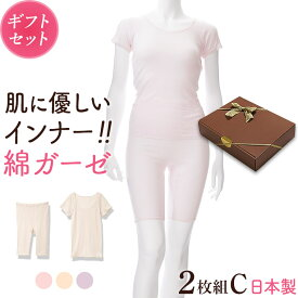 ギフト プレゼント 綿ガーゼインナー 日本製 2枚セットC 3分袖 5分丈 レディース 年間 肌着 服 花以外 母の日 誕生日 敬老の日 実用的 メッセージ カード 付き 綿100% ピンク/ベージュ/パープル M/L/LL Y2C-RT