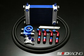 専用電ファン付 激冷え! SR20用 放熱塗装 サイドタンク オイルクーラー エレメント 移動式 type3 ブルー S13 S14 S15 シルビア 180SX