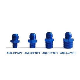 ホースサイズ 変換 アダプター AN8 オス - 3/8NPT オス ブルー アルマイト 汎用 フィッティング オイルクーラー 水温センサー