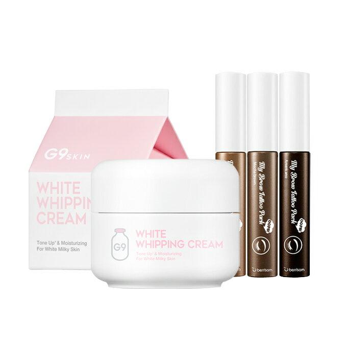 [G9SKIN/G9スキン] White Whipping Cream + My Brow Tattoo Pack / ホワイトホイッピングクリーム 50g + マイリップティントパック 15g 美人 ウユクリーム アイブロウ SkinGarden/スキンガーデン