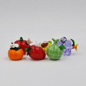 ガラス雑貨 フルーツ かわいい 動物 デザート 可愛い もも メロン かえる バナナ こざる サル 柿 ねこイチゴ いちご こぶた リンゴ りんご こぐま ブドウ ぶどう ふくろう 置物 お洒落 おいし