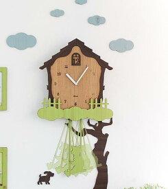 壁掛け時計 木の上の家(SwingHouse)ハンドメイド プレゼント 贈り物 クロック 新築 お祝い ギフト おしゃれ 誕生日 開店 振り子 子供 子供部屋 リビング インテリア