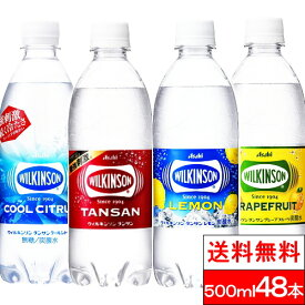 炭酸水 ウィルキンソン タンサン【送料無料】500mlPET よりどり2箱(48本)プレーン レモン グレープフルーツ