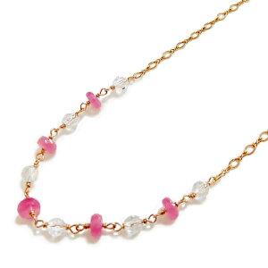 【あす楽対応】ピンクサファイア&水晶 ネックレス K14GF【天然石】