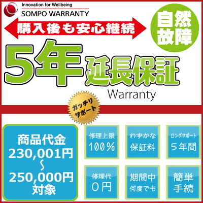5年延長保証 商品代金230,001円〜250,000円(税込)の商品対象