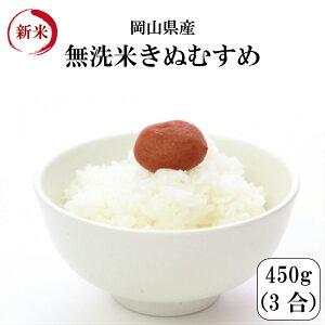 令和元年産 新米 ポイント消化 送料無料 お試し お米 無洗米 食品 安い 1kg以下 特A獲得 岡山県産きぬむすめ無洗米 450g(3合)1袋 メール便