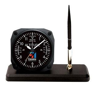 【Trintec Cessna Desk Pen Set】 トリンテック セスナ 航空計器 高度計 ペンスタンド 目覚し時計 CES-DS60