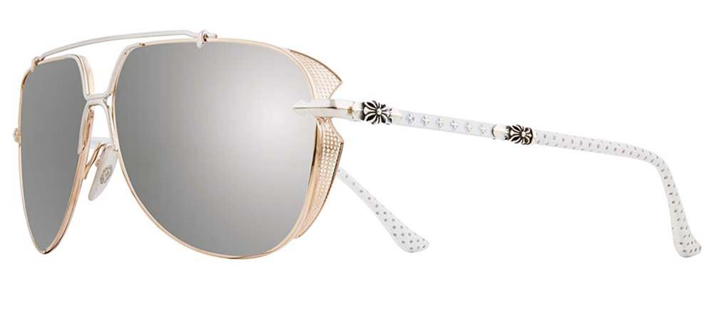 CHROME HEARTS GRITT Gold Plated/Shiny Silver-White Perforated Leather 62-12-142 クロムハーツ アイウェア 眼鏡