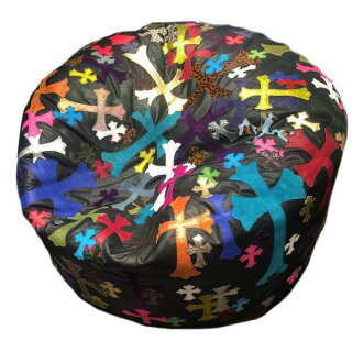 CHROME HEARTS BEAN BAG CUSHION Chrome Leather Round Cushion Cemetery Cross