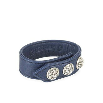 CHROME HEARTS 3 BTTN/2 SNAP BRACELET CROSS BTTNS chrome 3 button 2 snap bracelet leather Navy
