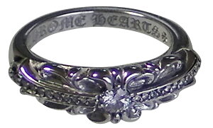 CHROME HEARTS FLORAL CROSS SILVER RING W/PAVE DIAMONDS クロムハーツ フローラルクロス リング パヴェダイヤ