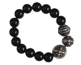 CHROME HEARTS 4MM BLACK TOURMALINE & SILVER CROSSBALL BEADS RING Lg & Sm size クロムハーツ ビーズ 指輪