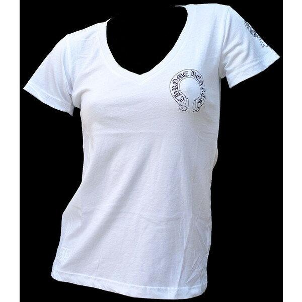 CHROME HEARTS LADIES T-SHIRT HALF SLEEVE WHITE クロムハーツ レディースTシャツ 新作 ホースシュー/フローラルクロス ホワイト
