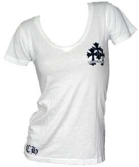 Chrome hearts women's short sleeve T shirt V neck new cross-white
