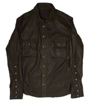 And chrome hearts mens ARMY green shirt leather cross