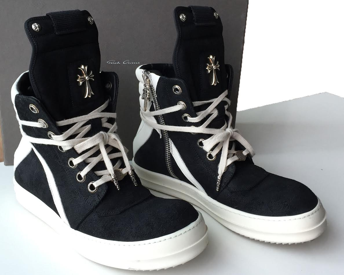 Chrome Hearts Rick Owens Geo Sneakers Black & White Leather (not suede) クロムハーツ リック・オウエンスジオスニーカー