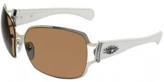 Chrome hearts POON II Sunglasses and eyewear gold/white leather
