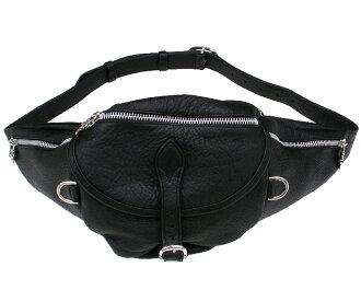 沉重的黑色皮革和鉻心重皮革 SNAT 腰袋鑲邊袋 /SNAT # 1