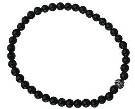 CHROME HEARTS BLACK 4MM BLACK TOURMALINE & 1 SILVER BEADS BRACELET クロムハーツ ブラックビーズブレスレット シルバービーズ 4mm