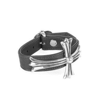 CHROME HEARTS BENT CH CROSS BRACELET ON LEATHER chrome vent CH cross leather bracelet