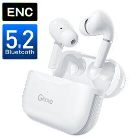 「Bluetooth5.2 ENCノイズキャンセリンク」Ginova ワイヤレスイヤホン bluetooth イヤホン ワイヤレス マイク付き ブルートゥース イヤホン Hi-Fi 高音質 ENCノイズキャンセリンク 片耳 両耳通話 左右分離型 軽型 コンパクト IPX7防水 アウトドア iPhone/Android適用