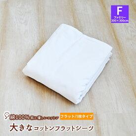 【10%OFF】【クーポンでさらに300円OFF】【F300】大きなサイズのコットンシーツ 綿100% フラットシーツ ファミリー(300×300cm)平織シーツ 日本製 平織シーツ ホワイト 白 大きいシーツ 白いシーツ 《6.O》