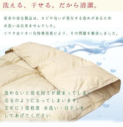 【P5倍】洗えるふとん!イワタ洗える干せるスペシャルホワイトグースダウンダウンケットシングルロングサイズ岩田寝具肌布団