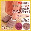 西川 羽毛 スリッパ あったか ふわふわ ダウン フェザー ルームシューズ KUS0106015 冬 手洗いOK 洗濯可能 2016年モデル