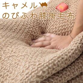 キャメル のびふわ膝掛毛布 70×100cm 伸縮 毛布 らくだ