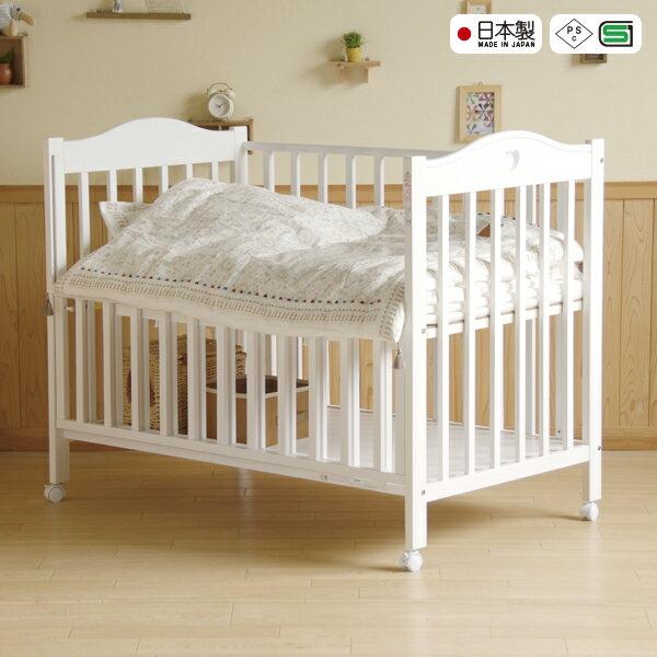 日本製ベビーベッド「NEWプロヴァンス(WH)ホワイト」 ハイタイプ 石崎家具