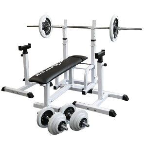 《パッドプレゼント中》フォールディングジムセット 白ラバー 70kg[Slim Fit スリムフィット] 送料無料 バーベル ダンベル ベンチプレス トレーニング器具 大胸筋 腹筋 上腕筋