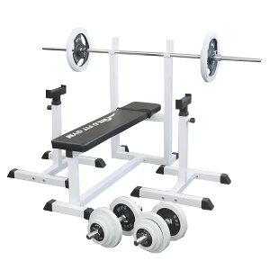 《パッドプレゼント中》トレーニングジムセット 白ラバー 70kg[Slim Fit スリムフィット] 送料無料 バーベル ダンベル ベンチプレス トレーニング器具 自宅 大胸筋 腹筋 上腕筋