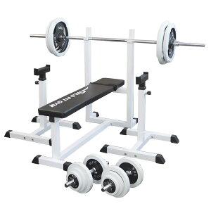 《パッドプレゼント中》トレーニングジムセット 白ラバー 100kg[Slim Fit スリムフィット] 送料無料 バーベル ダンベル ベンチプレス トレーニング器具 自宅 大胸筋 腹筋 上腕筋