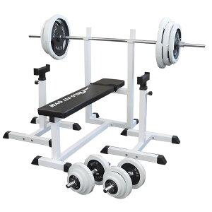 《パッドプレゼント中》トレーニングジムセット 白ラバー 140kg[Slim Fit スリムフィット] 送料無料 バーベル ダンベル ベンチプレス トレーニングマ器具 自宅 大胸筋 腹筋 上腕筋