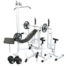 マルチフルセット アイアン100kg[Slim Fit スリムフィット] 送料無料 バーベル ベンチプレス トレーニング器具 自宅 マルチベンチ スクワット 大胸筋 腹筋