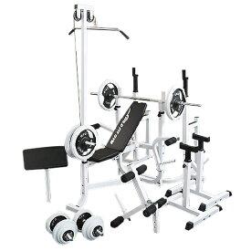 マルチフルセット 白ラバー100kg[Slim Fit スリムフィット] 送料無料 バーベル ベンチプレス トレーニング器具 マルチベンチ スクワット 大胸筋 腹筋