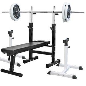 《パッドプレゼント中》フォールディングジムセットB 白ラバー 105kg[Slim Fit スリムフィット] 送料無料 バーベル ダンベル ベンチプレス トレーニング器具 自宅 大胸筋 腹筋 上腕筋