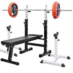 《パッドプレゼント中》フォールディングジムセットB 赤ラバー 105kg[Slim Fit スリムフィット] 送料無料 バーベル ダンベル ベンチプレス トレーニング器具 自宅 大胸筋 腹筋 上腕筋