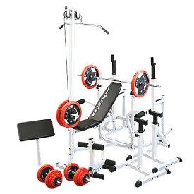 マルチフルセット 赤ラバー100kg[Slim Fit スリムフィット] 送料無料 バーベル ベンチプレス トレーニング器具 マルチベンチ スクワット 大胸筋 腹筋