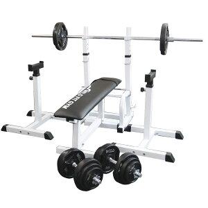 《パッドプレゼント中》フォールディングジムセット 黒ラバー 70kg[Slim Fit スリムフィット] 送料無料 バーベル ダンベル ベンチプレス トレーニング器具 大胸筋 腹筋 上腕筋