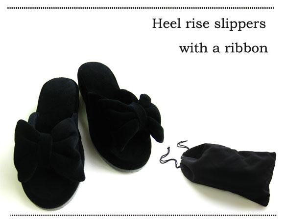 【送料無料】大好評につき再販決定!お受験スリッパリボンヒールアップベロア調スリッパ携帯袋付きスリッパヒールスリッパ ルームシューズお洒落 おしゃれ slippers おしゃれスリッパ 来客用スリッパ