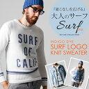 サーフロゴ ニットセーター メンズ(メンズファッション セーター ニット トップス Vネック Uネック クルーネック サー…