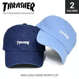 【割引クーポン配布中】 THRASHER / スラッシャー MAG LOGO DENIM SPORTS CAP キャップ STRAPBACK CAP 6パネルキャップ デニム ストラップバックキャップ 帽子 メンズ レディース ユニセックス ストリート スケート 【RCP】