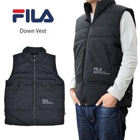 【割引クーポン配布中】 FILA HERITAGE フィラ ヘリテージ ベスト DOWN VEST ダウンベスト 中綿ベスト メンズ M-XL ブラック FM9694