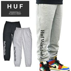 HUF ハフ パンツ ESSENTIALS FLEECE PANT スウェットパンツ フリースパンツ イージーパンツ メンズ S-XL ブラック グレー PF00190