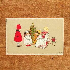 ドイツ製 ポストカード クリスマスカード クリスマス ツリーを囲んで 【メール便対象品】