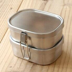 工房アイザワ ステンレス製 角型 ランチボックス 弁当箱 小 2段