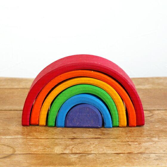 積み木 パズル スタッキングパズル 木製 おもちゃ シュタイナー 木のおもちゃ インテリア 出産祝い 誕生日 ドイツ GRIMM'S グリムス 虹色トンネル L
