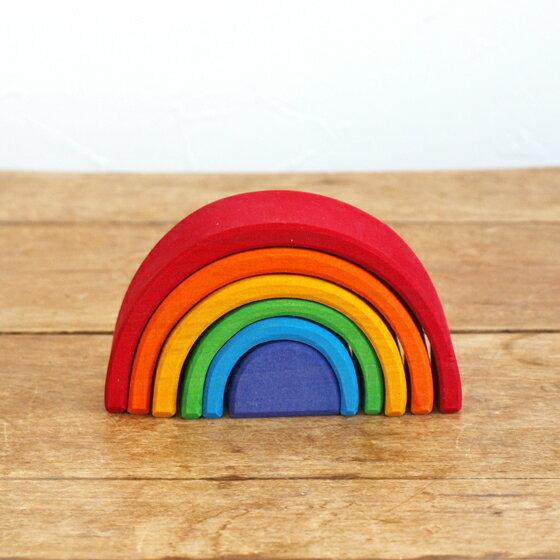 積み木 パズル スタッキングパズル 木製 おもちゃ シュタイナー 木のおもちゃ インテリア 出産祝い 誕生日 ドイツ GRIMM'S グリムス 虹色トンネル S
