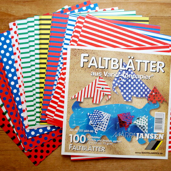 ドイツ MARPAJANSEN マーパヤンセン 折り紙 ストライプ&ドット両面カラー LL 100枚【メール便対象品】